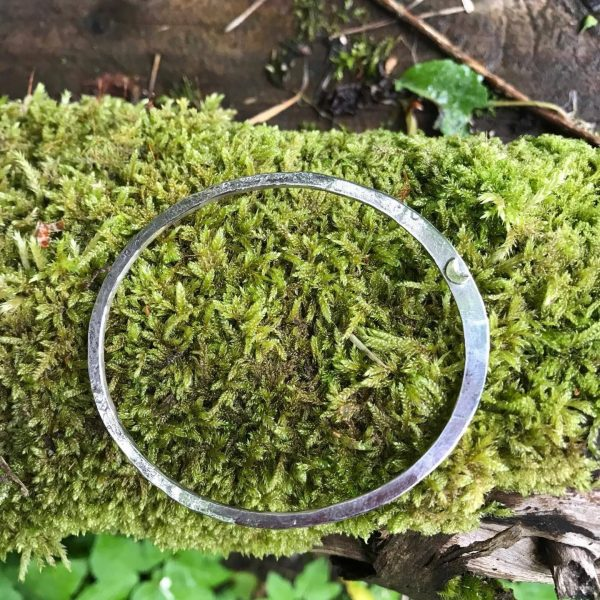 Bangle - B07 - Silver 2.5mm hammered asymmetric bangle with brass moon detail