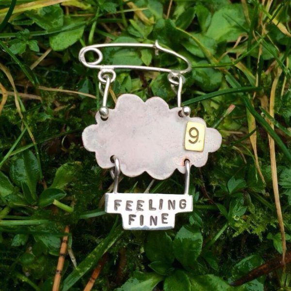 Brooch - BR03 - Silver and mixed metal 'feeling fine on cloud 9' brooch