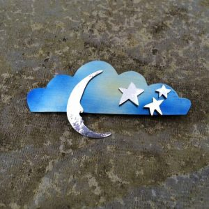 Brooch - Br05 - Silver , brass and blue titanium cloud ,stars and moon brooch