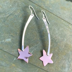 Earrings - E02 - Silver and copper 'shooting star' dangly earrings