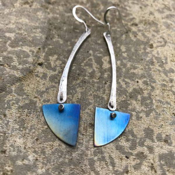 Earrings - E03 - Silver and blue titanium triangle dangly earrings