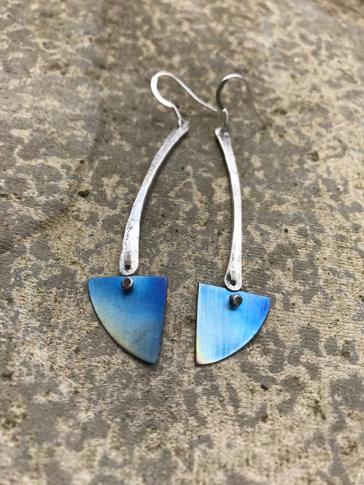 Earrings - E03 - Silver and blue titanium triangle dangly earrings