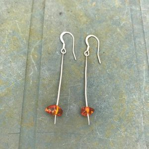 Earrings - E10 - Silver and amber dangly earrings