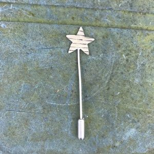 Pin - P03 - Stripey brass snd silver star pin