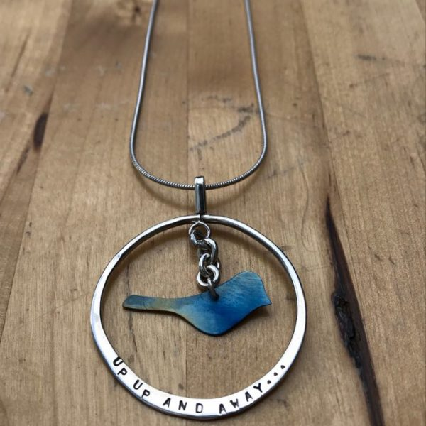 silver and blue titanium 'up up and away' necklace