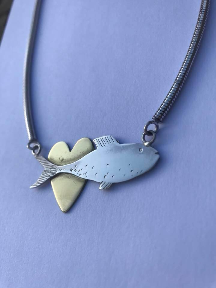 Silver and brass fish necklace