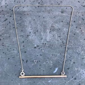 Brass bar and silver ball chain necklace